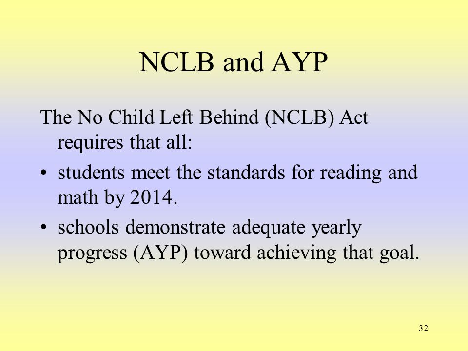32 NCLB and AYP The No Child Left Behind (NCLB) Act requires that all: students meet the standards for reading and math by 2014. schools demonstrate a