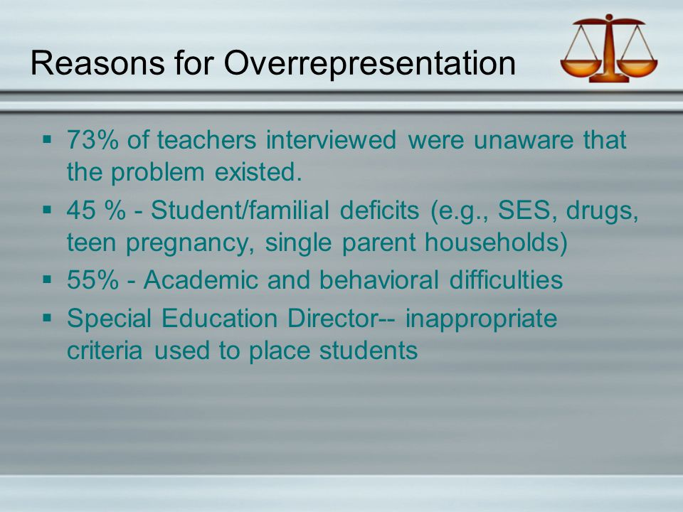 Reasons for Overrepresentation  73% of teachers interviewed were unaware that the problem existed.