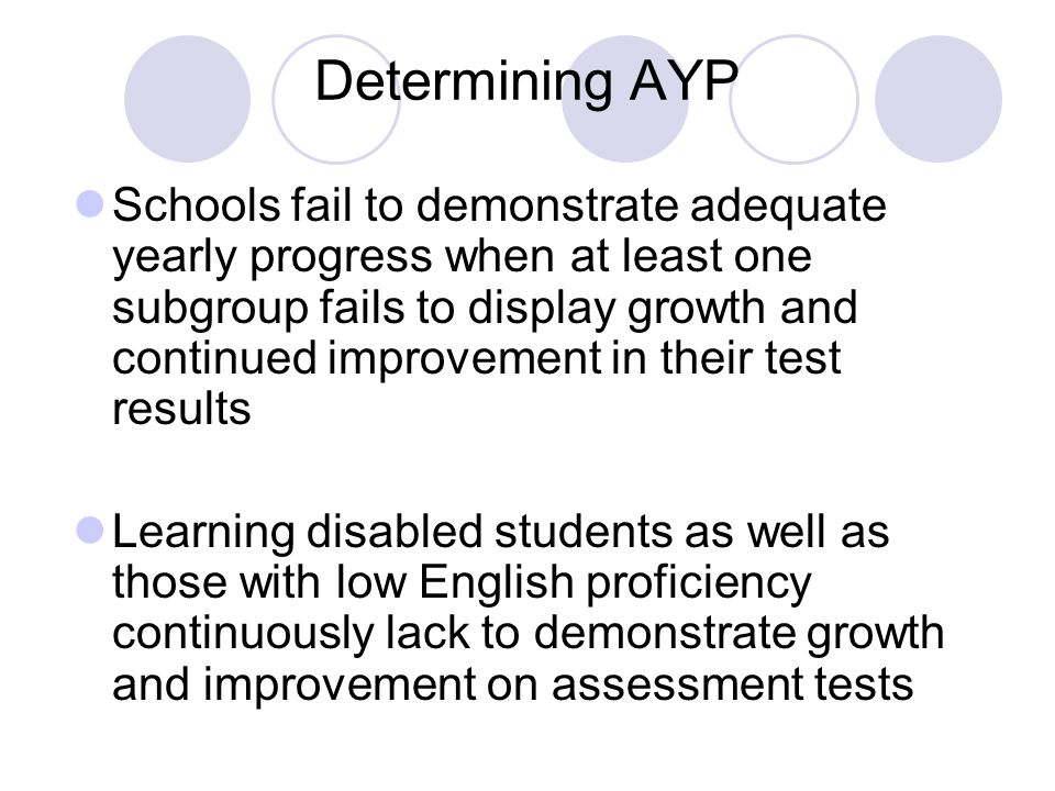 Determining AYP Schools fail to demonstrate adequate yearly progress when at least one subgroup fails to display growth and continued improvement in their test results Learning disabled students as well as those with low English proficiency continuously lack to demonstrate growth and improvement on assessment tests