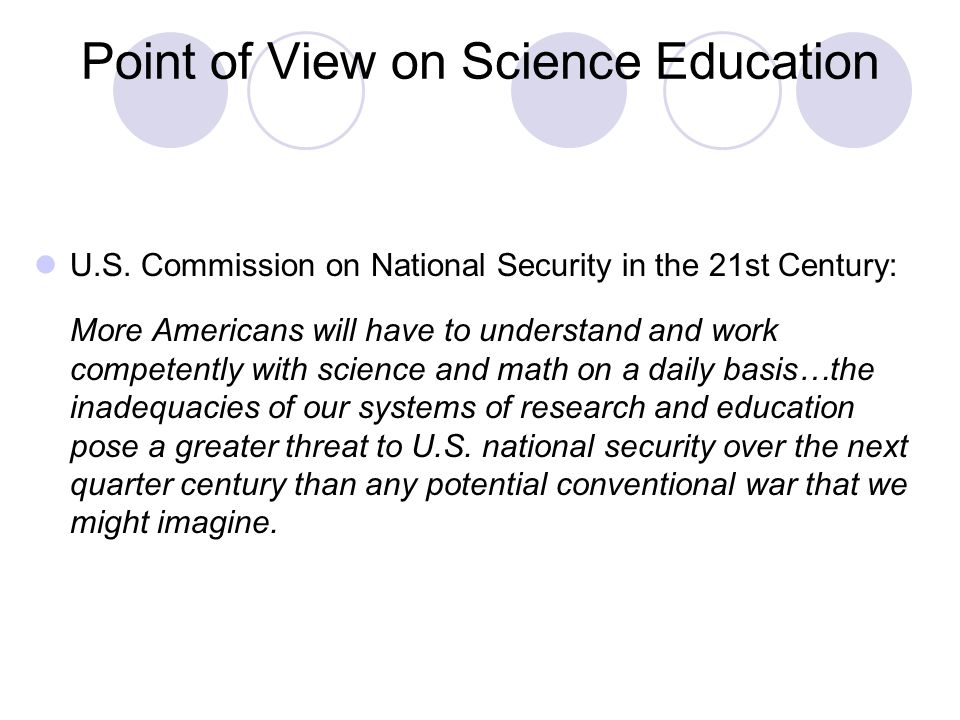 Point of View on Science Education U.S.