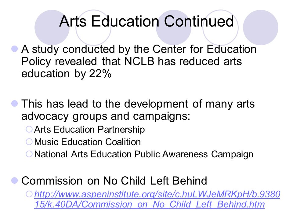 Arts Education Continued A study conducted by the Center for Education Policy revealed that NCLB has reduced arts education by 22% This has lead to the development of many arts advocacy groups and campaigns:  Arts Education Partnership  Music Education Coalition  National Arts Education Public Awareness Campaign Commission on No Child Left Behind  http://www.aspeninstitute.org/site/c.huLWJeMRKpH/b.9380 15/k.40DA/Commission_on_No_Child_Left_Behind.htm http://www.aspeninstitute.org/site/c.huLWJeMRKpH/b.9380 15/k.40DA/Commission_on_No_Child_Left_Behind.htm