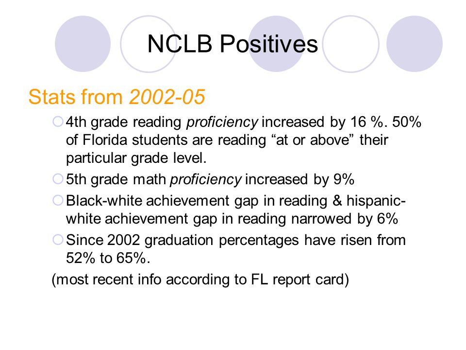 NCLB Positives Stats from 2002-05  4th grade reading proficiency increased by 16 %.