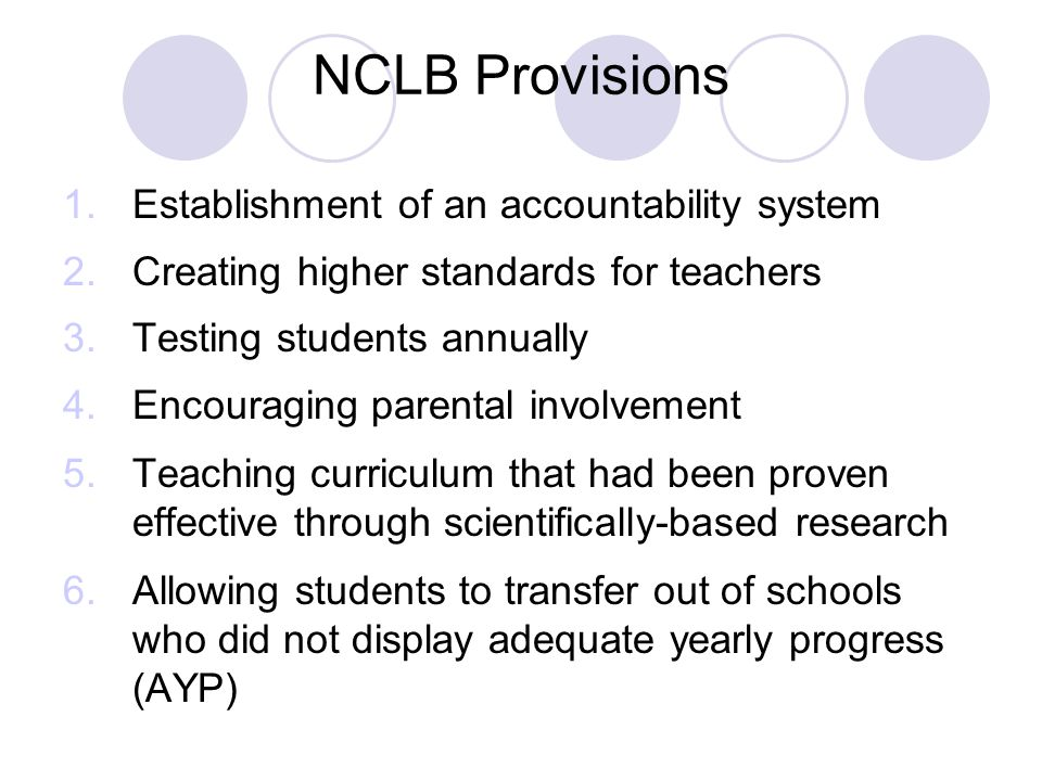 NCLB Provisions 1.Establishment of an accountability system 2.Creating higher standards for teachers 3.Testing students annually 4.Encouraging parental involvement 5.Teaching curriculum that had been proven effective through scientifically-based research 6.Allowing students to transfer out of schools who did not display adequate yearly progress (AYP)