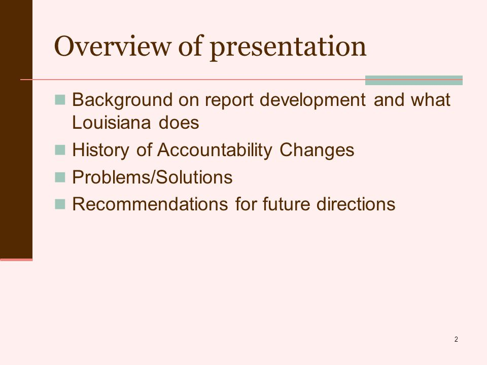 23 Problems/Solutions New mandates (internal and external to state) Evaluate the current reports for what works and what doesn't Prioritize contents of the report (current and anticipated) Take advantage of the opportunity to make enhancements to the reports that are undergoing major revision anyway Look at what other states are doing to get ideas