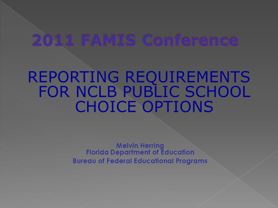 Melvin Herring Florida Department of Education Bureau of Federal Educational Programs REPORTING REQUIREMENTS FOR NCLB PUBLIC SCHOOL CHOICE OPTIONS