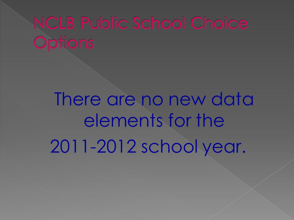 There are no new data elements for the 2011-2012 school year.