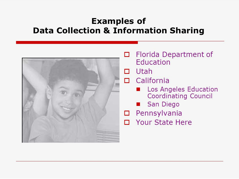 Examples of Data Collection & Information Sharing  Florida Department of Education  Utah  California Los Angeles Education Coordinating Council San Diego  Pennsylvania  Your State Here