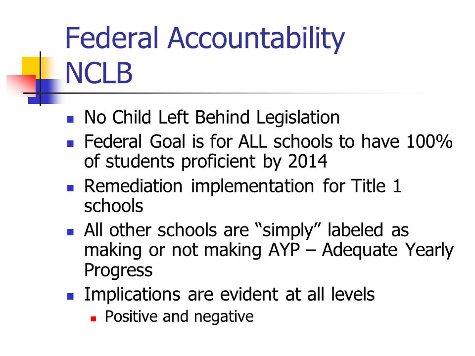 Federal Accountability NCLB No Child Left Behind Legislation Federal Goal is for ALL schools to have 100% of students proficient by 2014 Remediation implementation for Title 1 schools All other schools are simply labeled as making or not making AYP – Adequate Yearly Progress Implications are evident at all levels Positive and negative