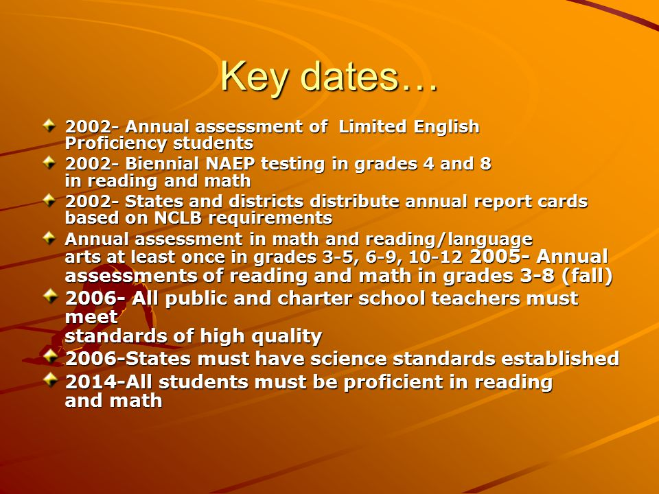 Key dates… 2002- Annual assessment of Limited English Proficiency students 2002- Biennial NAEP testing in grades 4 and 8 in reading and math 2002- States and districts distribute annual report cards based on NCLB requirements Annual assessment in math and reading/language arts at least once in grades 3-5, 6-9, 10-12 2005- Annual assessments of reading and math in grades 3-8 (fall) 2006- All public and charter school teachers must meet standards of high quality 2006-States must have science standards established 2014-All students must be proficient in reading and math