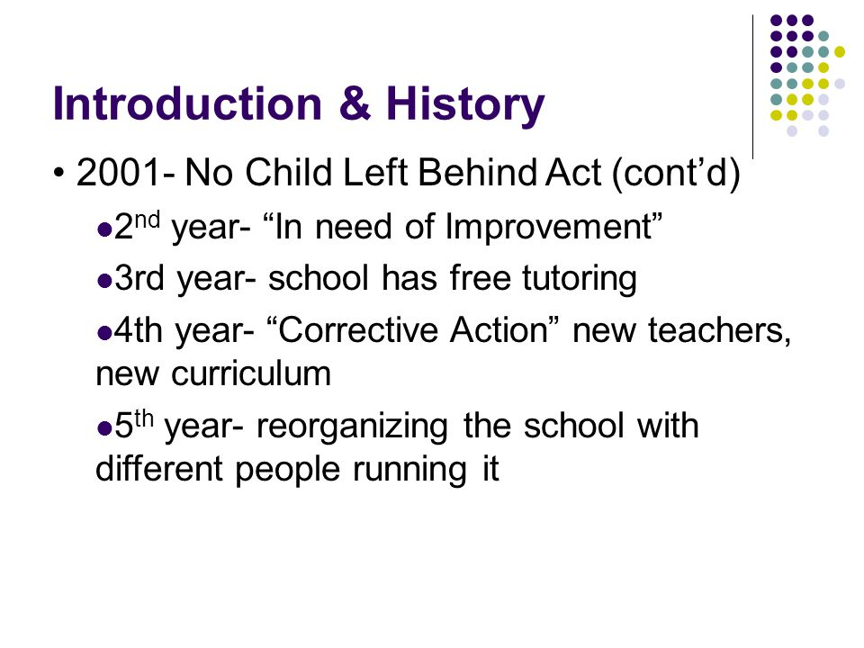 Introduction & History 2001- No Child Left Behind Act (cont'd) 2 nd year- In need of Improvement 3rd year- school has free tutoring 4th year- Corrective Action new teachers, new curriculum 5 th year- reorganizing the school with different people running it