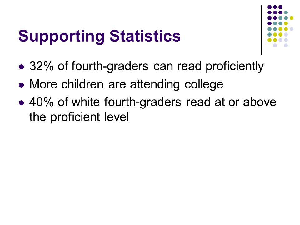 Supporting Statistics 32% of fourth-graders can read proficiently More children are attending college 40% of white fourth-graders read at or above the proficient level