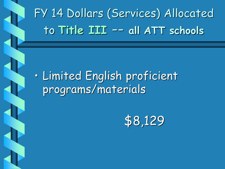 FY 14 Dollars (Services) Allocated to Title III -- all ATT schools Limited English proficient programs/materialsLimited English proficient programs/materials$8,129