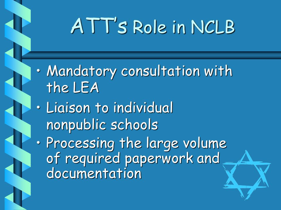ATT's Role in NCLB Mandatory consultation with the LEAMandatory consultation with the LEA Liaison to individual nonpublic schoolsLiaison to individual nonpublic schools Processing the large volume of required paperwork and documentationProcessing the large volume of required paperwork and documentation