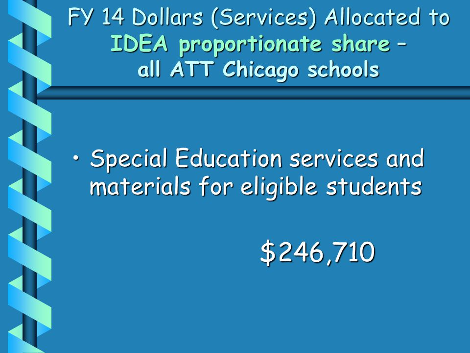 FY 14 Dollars (Services) Allocated to IDEA proportionate share – all ATT Chicago schools Special Education services and materials for eligible studentsSpecial Education services and materials for eligible students$246,710