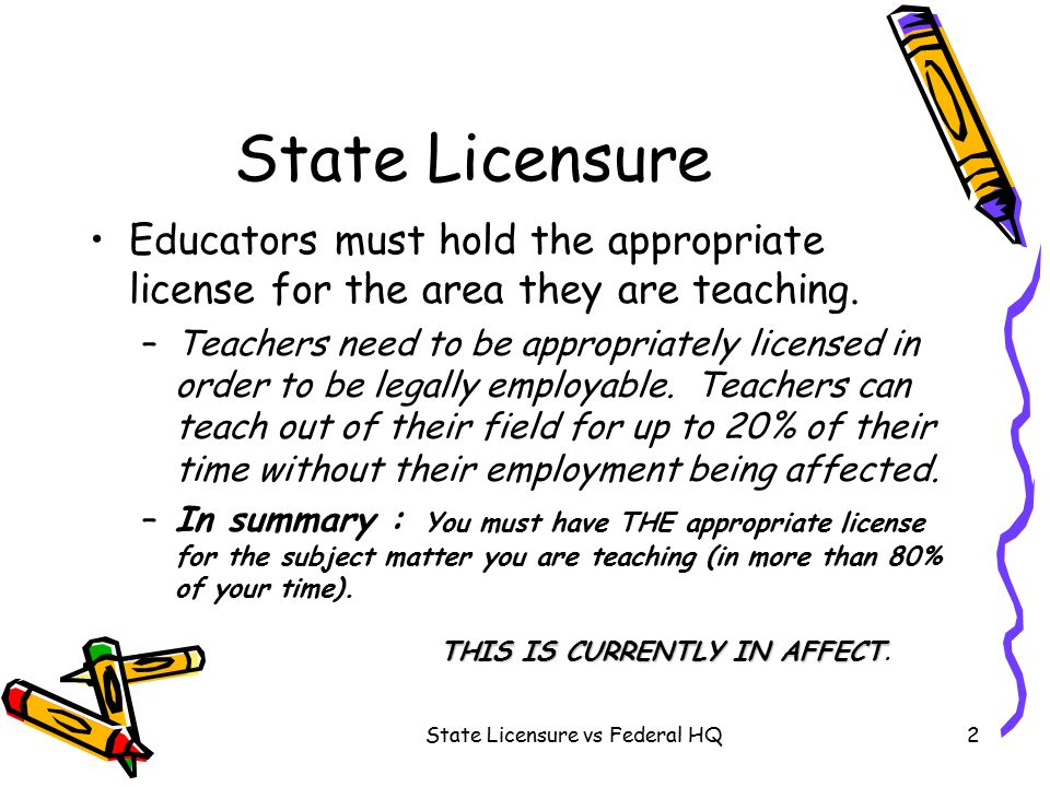 State Licensure vs Federal HQ2 State Licensure Educators must hold the appropriate license for the area they are teaching.