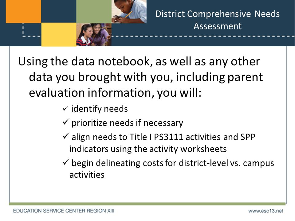 District Comprehensive Needs Assessment Using the data notebook, as well as any other data you brought with you, including parent evaluation information, you will: identify needs prioritize needs if necessary align needs to Title I PS3111 activities and SPP indicators using the activity worksheets begin delineating costs for district-level vs.