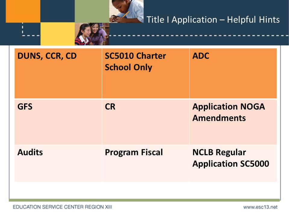 Title I Application – Helpful Hints DUNS, CCR, CDSC5010 Charter School Only ADC GFSCRApplication NOGA Amendments AuditsProgram FiscalNCLB Regular Application SC5000