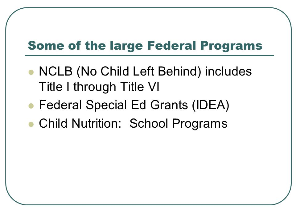 Some of the large Federal Programs NCLB (No Child Left Behind) includes Title I through Title VI Federal Special Ed Grants (IDEA) Child Nutrition: School Programs