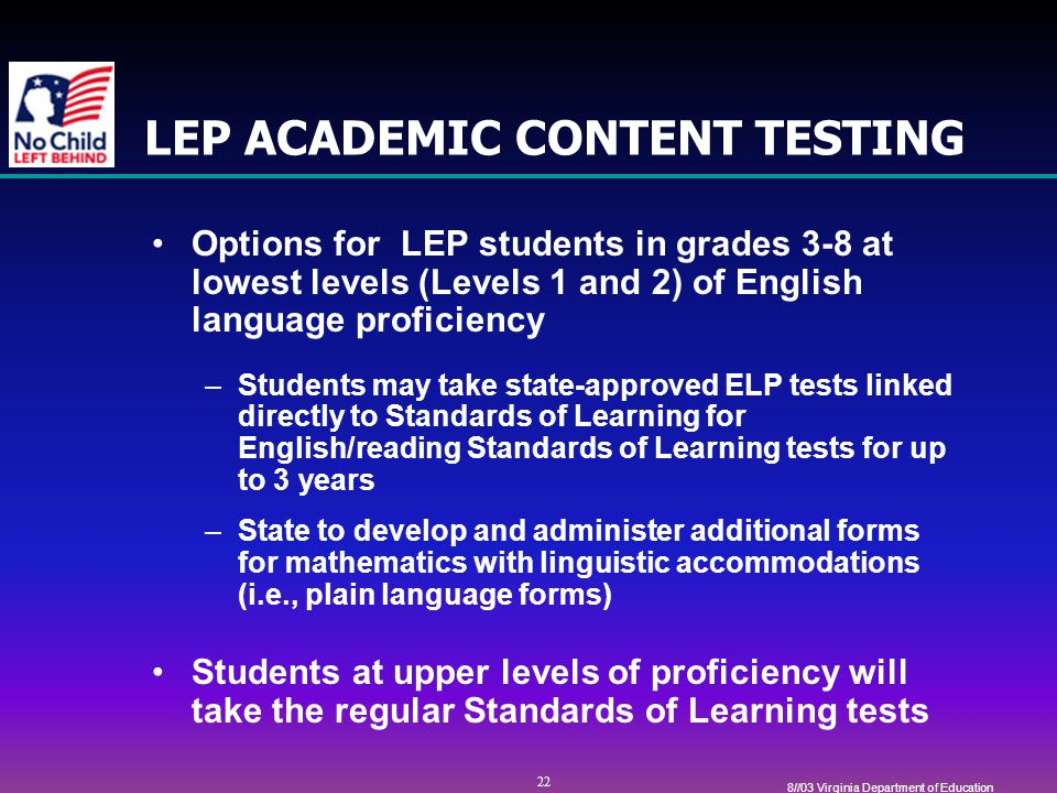 22 8//03 Virginia Department of Education LEP ACADEMIC CONTENT TESTING Options for LEP students in grades 3-8 at lowest levels (Levels 1 and 2) of English language proficiency –Students may take state-approved ELP tests linked directly to Standards of Learning for English/reading Standards of Learning tests for up to 3 years –State to develop and administer additional forms for mathematics with linguistic accommodations (i.e., plain language forms) Students at upper levels of proficiency will take the regular Standards of Learning tests