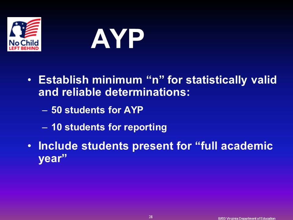 28 8//03 Virginia Department of Education AYP Establish minimum n for statistically valid and reliable determinations: –50 students for AYP –10 students for reporting Include students present for full academic year