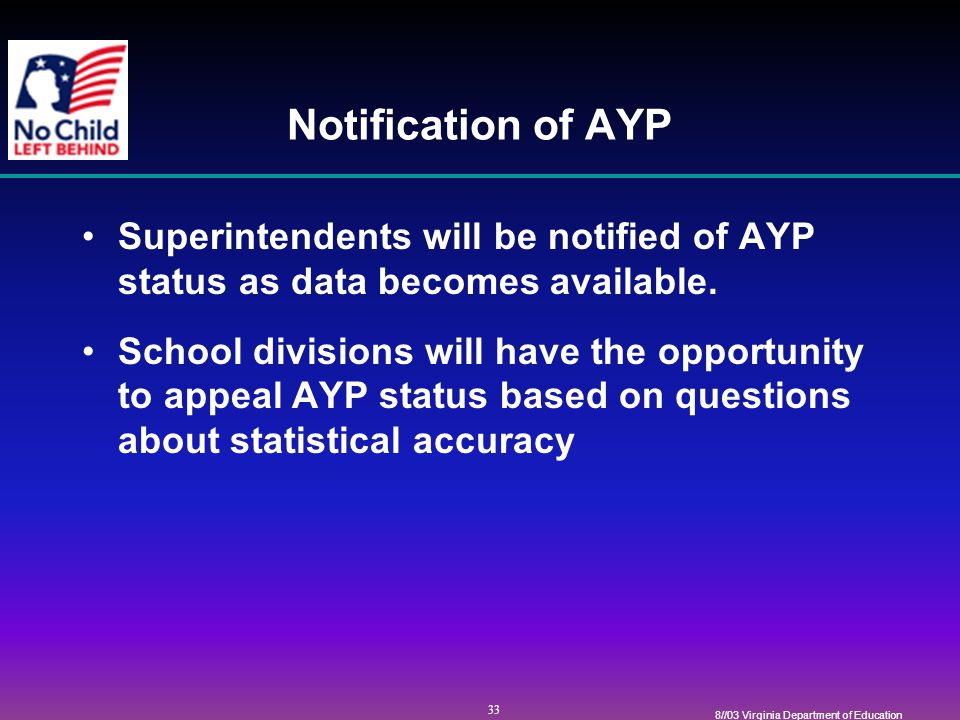 33 8//03 Virginia Department of Education Notification of AYP Superintendents will be notified of AYP status as data becomes available.
