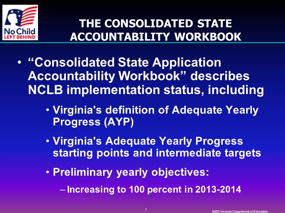 8 8//03 Virginia Department of Education STATEWIDE ACCOUNTABILITY SYSTEM NCLB law requires a single statewide accountability system that will be effective in ensuring that all public schools and school divisions make adequate yearly progress.