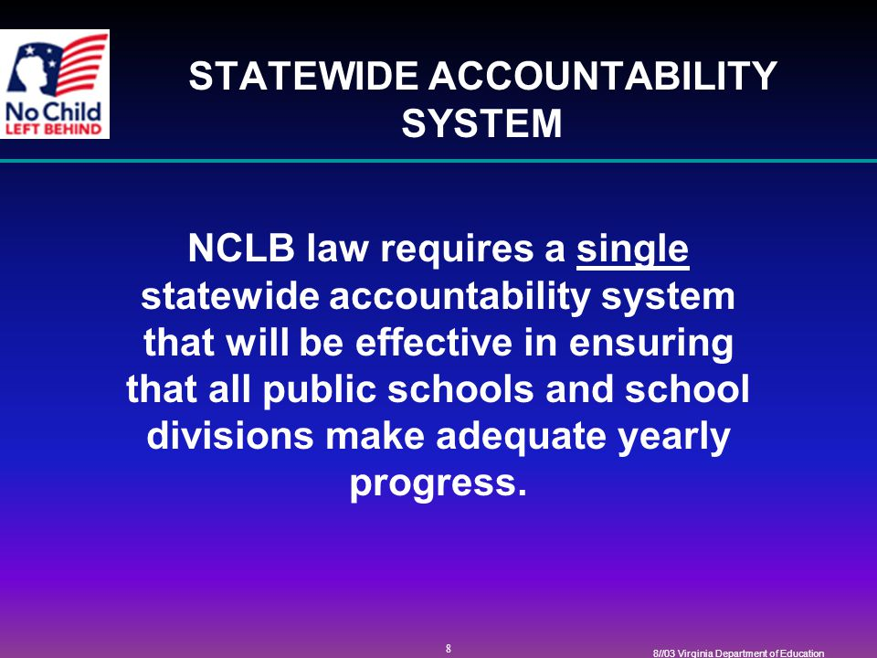 39 8//03 Virginia Department of Education ACCOUNTABILITY IN THE CLASSROOM HIGH QUALITY STANDARDS FOR INSTRUCTIONAL PERSONNEL Virginia will require certain teachers and paraprofessionals, as required in NCLB, to meet the definition of highly qualified within required time frames.