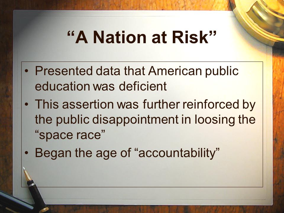 """Presented data that American public education was deficient This assertion was further reinforced by the public disappointment in loosing the """"space r"""