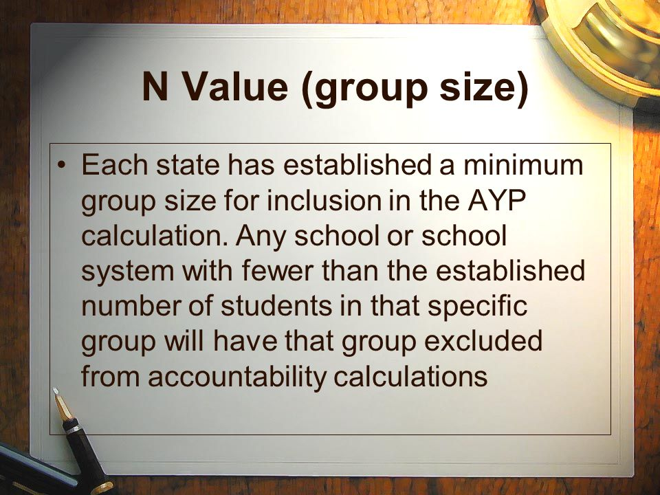 N Value (group size) Each state has established a minimum group size for inclusion in the AYP calculation. Any school or school system with fewer than