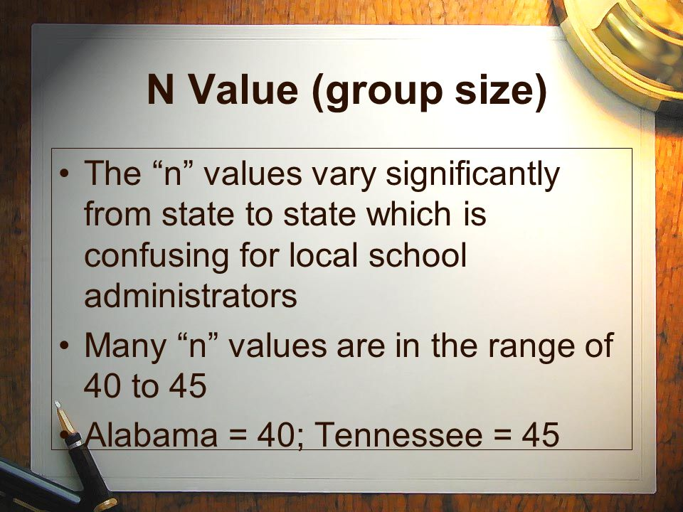 """N Value (group size) The """"n"""" values vary significantly from state to state which is confusing for local school administrators Many """"n"""" values are in t"""