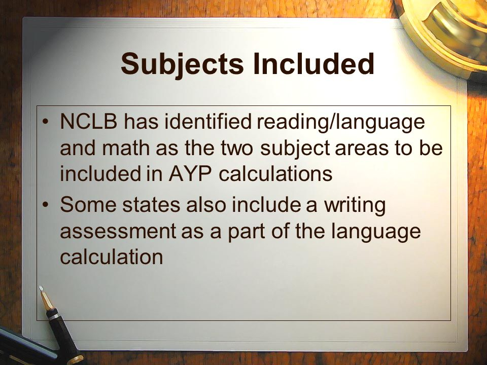 Subjects Included NCLB has identified reading/language and math as the two subject areas to be included in AYP calculations Some states also include a