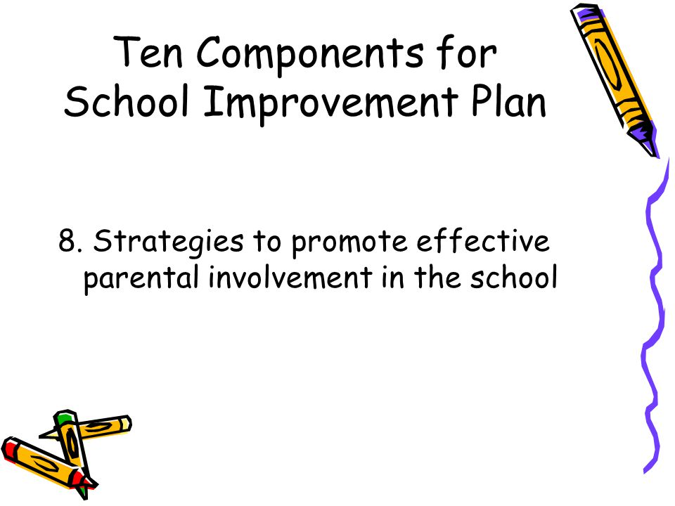 Ten Components for School Improvement Plan 8.