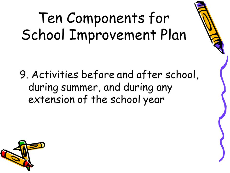 Ten Components for School Improvement Plan 9.