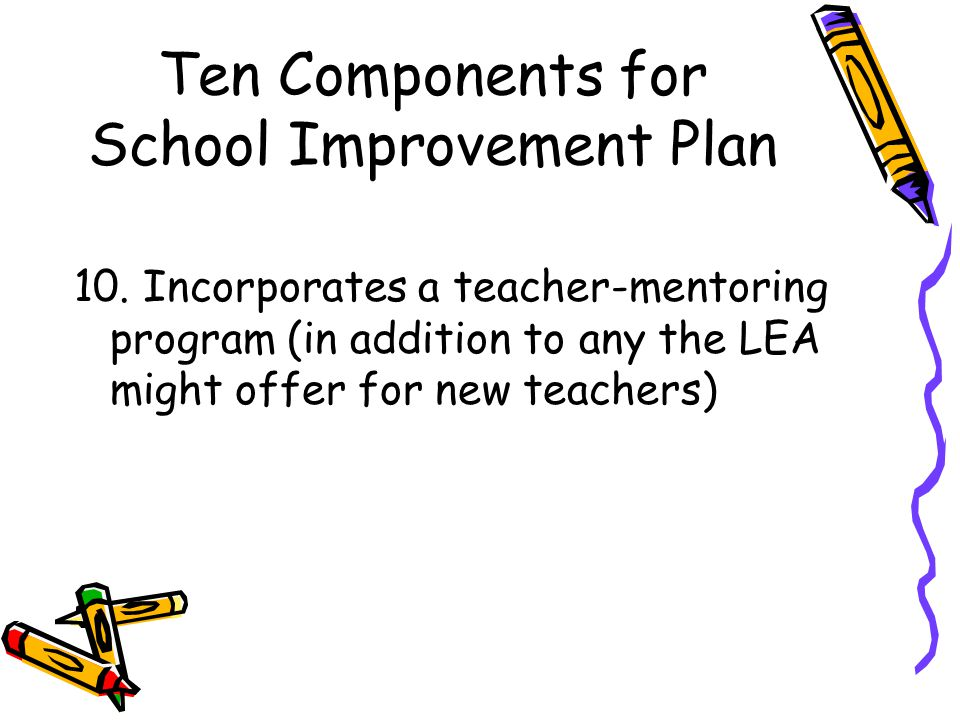 Ten Components for School Improvement Plan 10.
