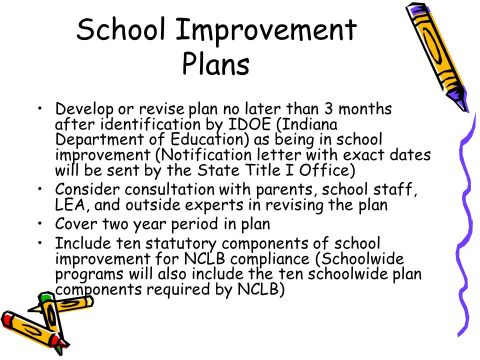School Improvement Plans Develop or revise plan no later than 3 months after identification by IDOE (Indiana Department of Education) as being in school improvement (Notification letter with exact dates will be sent by the State Title I Office) Consider consultation with parents, school staff, LEA, and outside experts in revising the plan Cover two year period in plan Include ten statutory components of school improvement for NCLB compliance (Schoolwide programs will also include the ten schoolwide plan components required by NCLB)