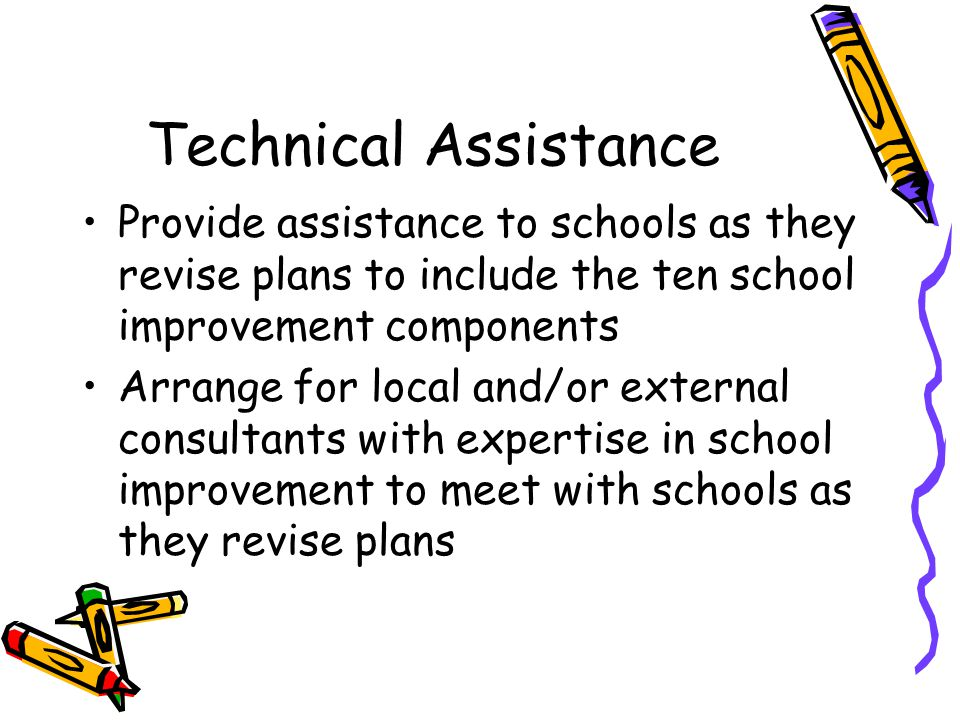 Technical Assistance Provide assistance to schools as they revise plans to include the ten school improvement components Arrange for local and/or external consultants with expertise in school improvement to meet with schools as they revise plans