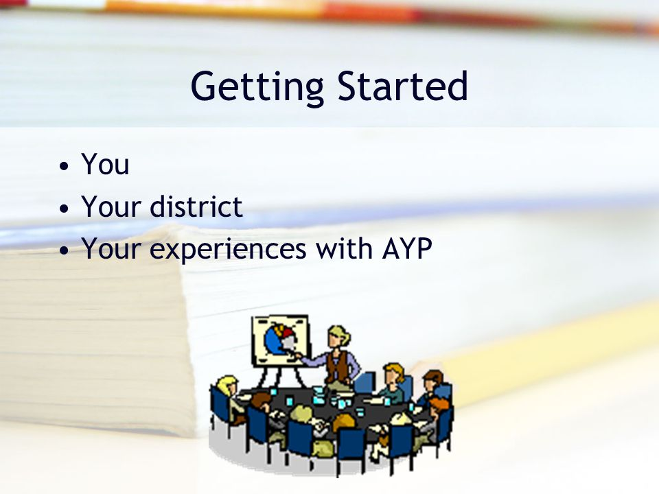 Getting Started You Your district Your experiences with AYP
