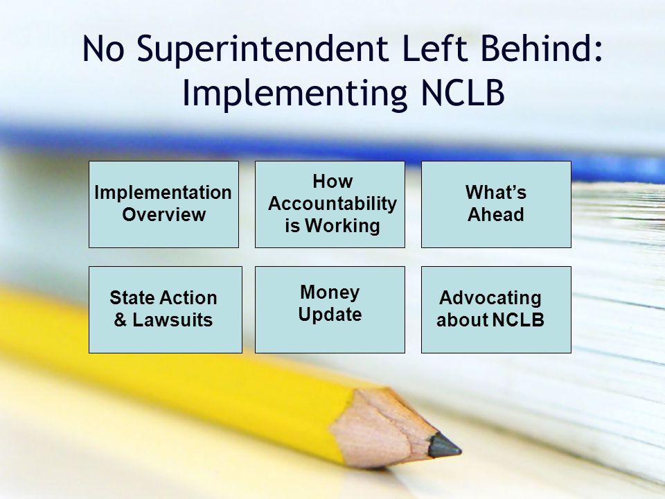 No Superintendent Left Behind: Implementing NCLB Implementation Overview How Accountability is Working What's Ahead Money Update Advocating about NCLB State Action & Lawsuits