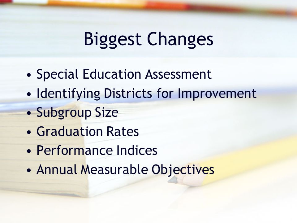 Biggest Changes Special Education Assessment Identifying Districts for Improvement Subgroup Size Graduation Rates Performance Indices Annual Measurable Objectives