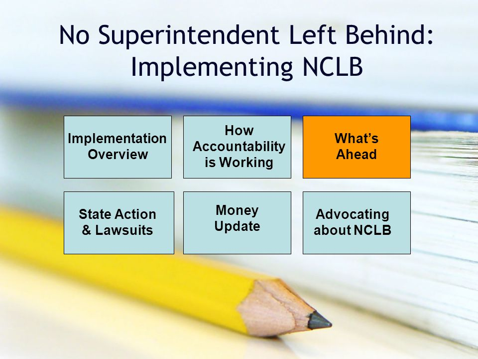 No Superintendent Left Behind: Implementing NCLB Implementation Overview How Accountability is Working Money Update Advocating about NCLB State Action & Lawsuits What's Ahead