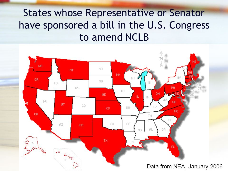 States whose Representative or Senator have sponsored a bill in the U.S.