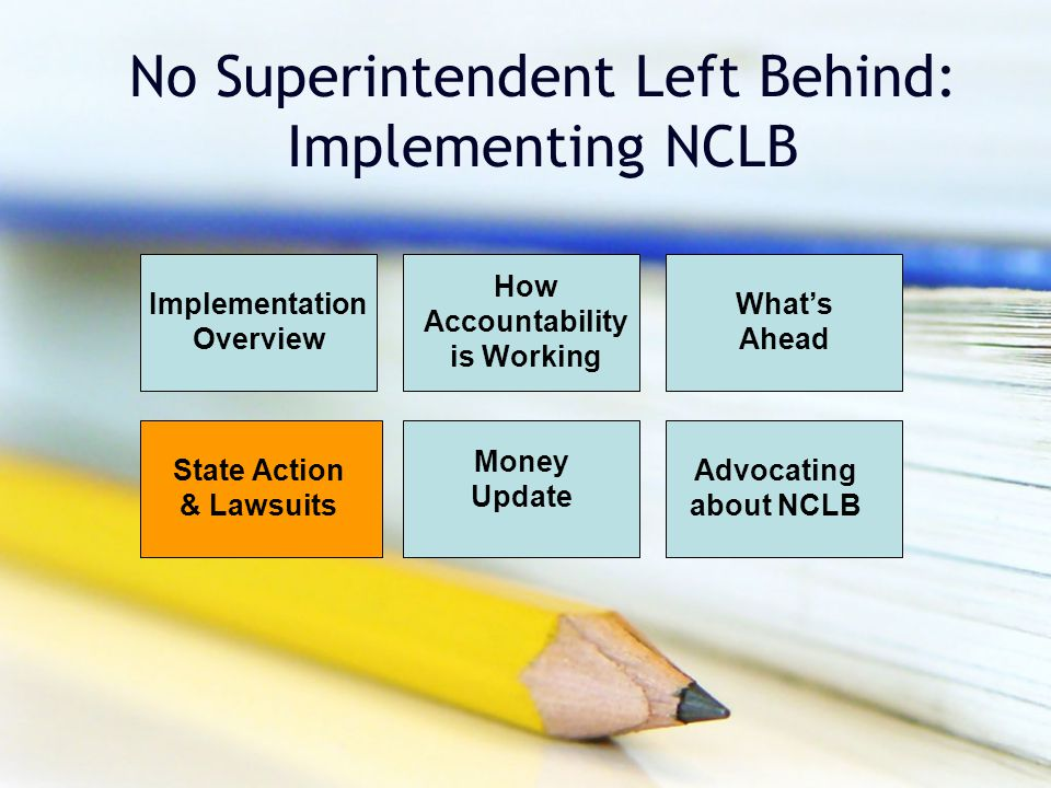 No Superintendent Left Behind: Implementing NCLB Implementation Overview How Accountability is Working What's Ahead Money Update Advocating about NCLB