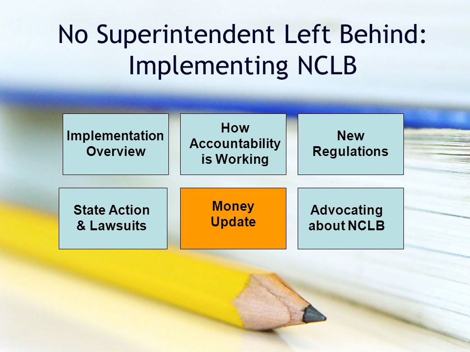 No Superintendent Left Behind: Implementing NCLB Implementation Overview How Accountability is Working New Regulations Money Update Advocating about N