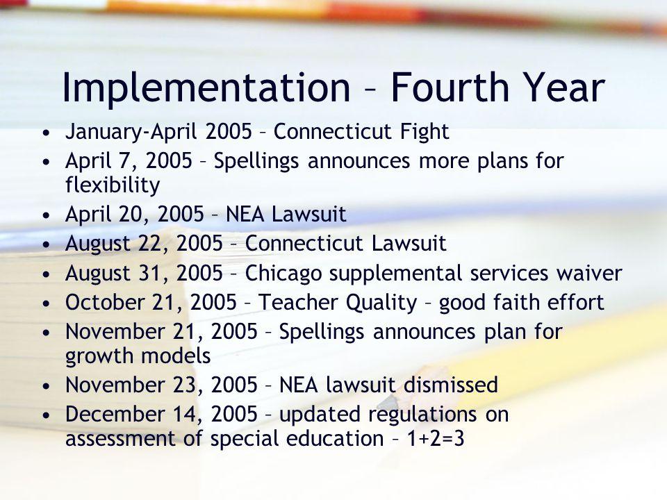 Implementation – Fourth Year January-April 2005 – Connecticut Fight April 7, 2005 – Spellings announces more plans for flexibility April 20, 2005 – NE