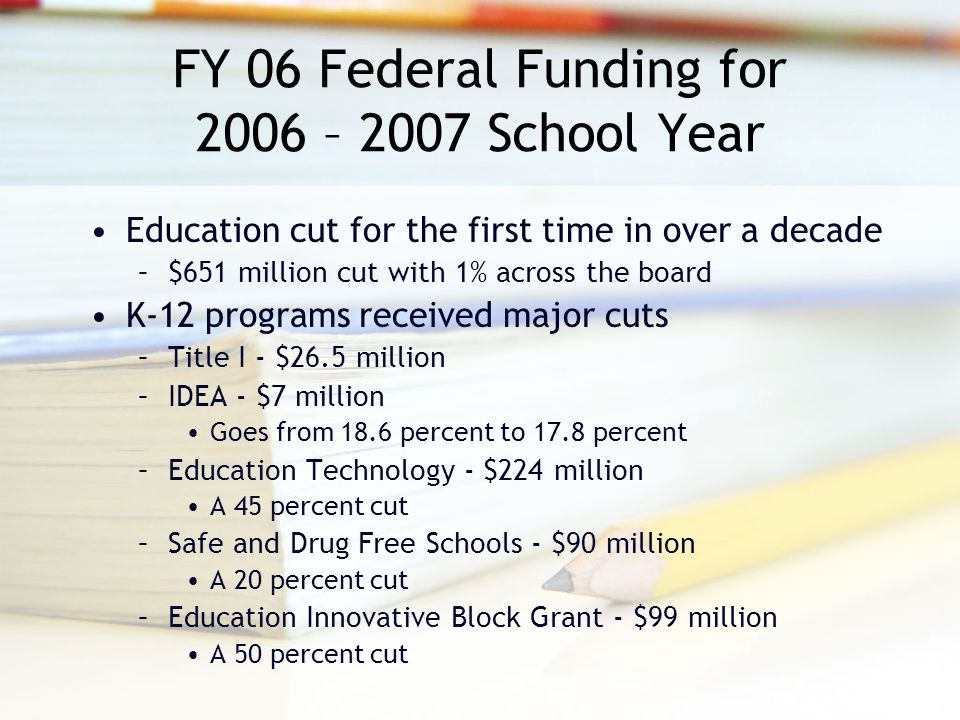 FY 06 Federal Funding for 2006 – 2007 School Year Education cut for the first time in over a decade –$651 million cut with 1% across the board K-12 programs received major cuts –Title I - $26.5 million –IDEA - $7 million Goes from 18.6 percent to 17.8 percent –Education Technology - $224 million A 45 percent cut –Safe and Drug Free Schools - $90 million A 20 percent cut –Education Innovative Block Grant - $99 million A 50 percent cut