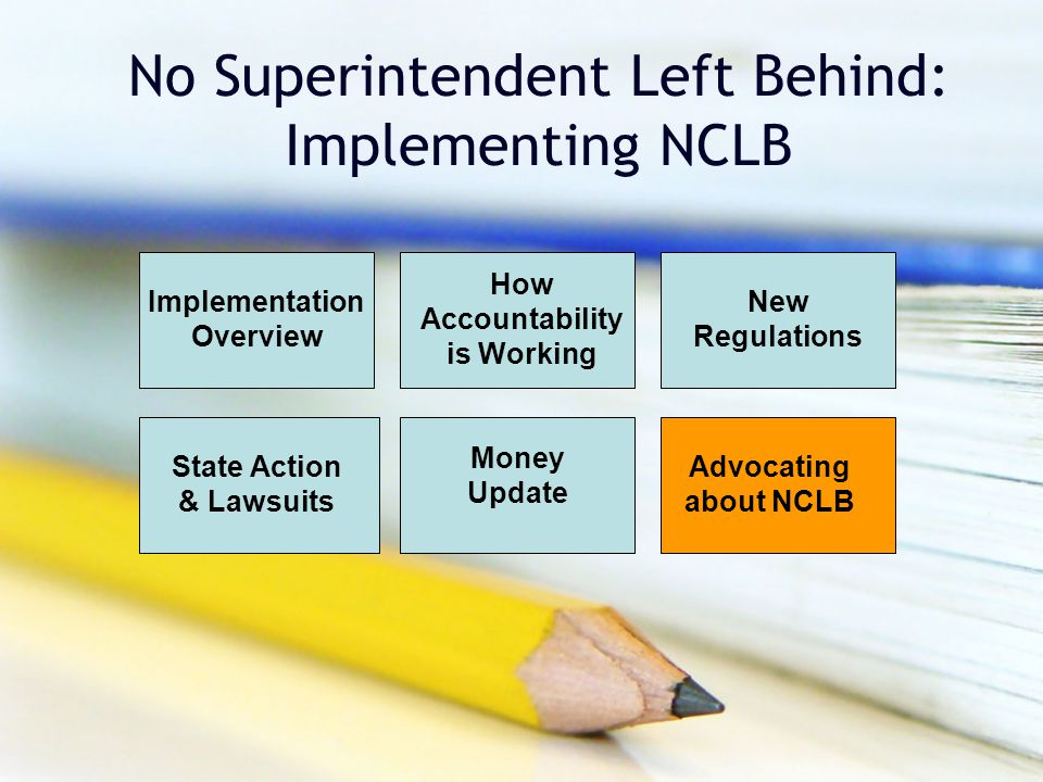 No Superintendent Left Behind: Implementing NCLB Implementation Overview How Accountability is Working New Regulations Money Update Advocating about NCLB State Action & Lawsuits