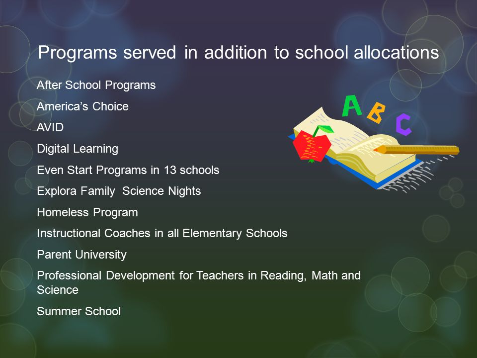 Programs served in addition to school allocations After School Programs America's Choice AVID Digital Learning Even Start Programs in 13 schools Explora Family Science Nights Homeless Program Instructional Coaches in all Elementary Schools Parent University Professional Development for Teachers in Reading, Math and Science Summer School
