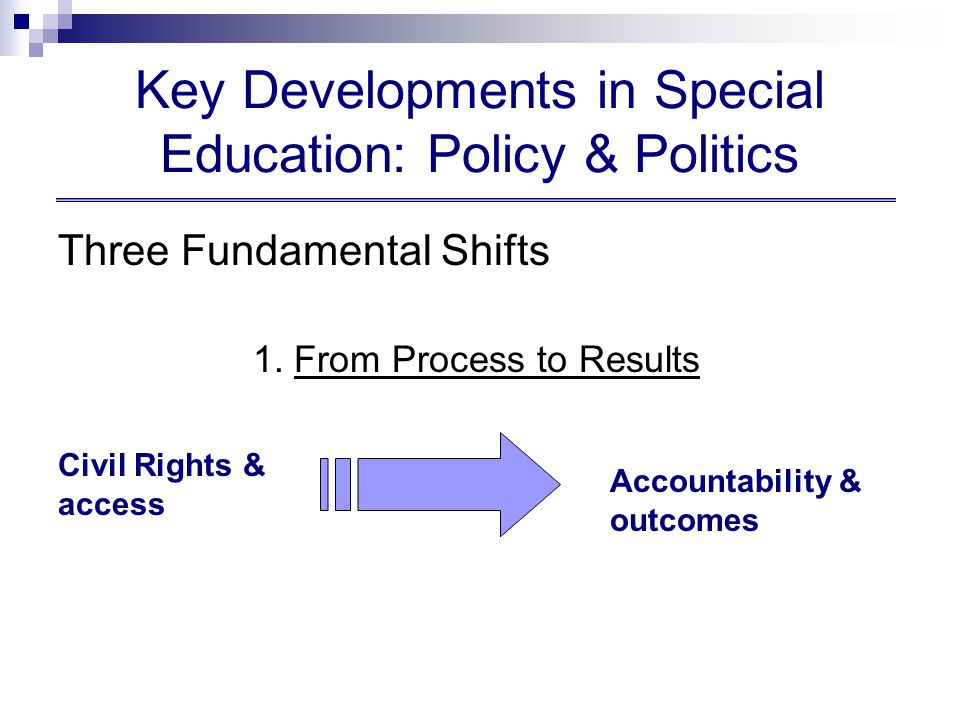 Priorities of IES Special education research topics:  Language and vocabulary development  Assessment for accountability  Individualized Education Programs (IEP)  Early intervention and assessment for young children with disabilities  Serious behavioral disorders  K-12 Reading and writing (including reading and writing within disciplines), math and science  Secondary and post-secondary outcomes  Special education teacher quality: reading, writing, math and science