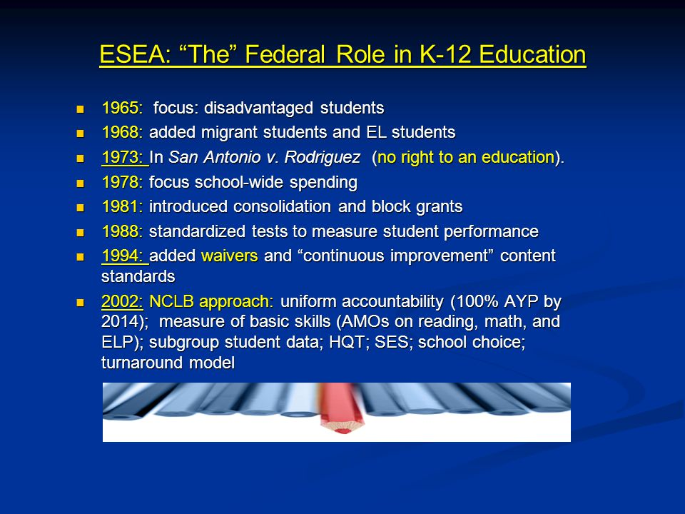ESEA: The Federal Role in K-12 Education 1965: focus: disadvantaged students 1965: focus: disadvantaged students 1968: added migrant students and EL students 1968: added migrant students and EL students 1973: In San Antonio v.