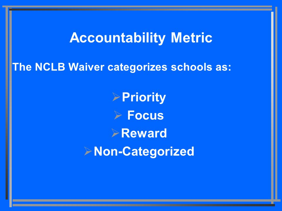 Accountability Metric The NCLB Waiver categorizes schools as:  Priority  Focus  Reward  Non-Categorized